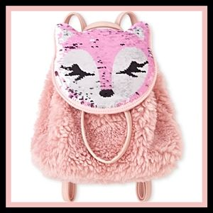 Girls Flip Sequin Fox Faux Fur Mini Backpack